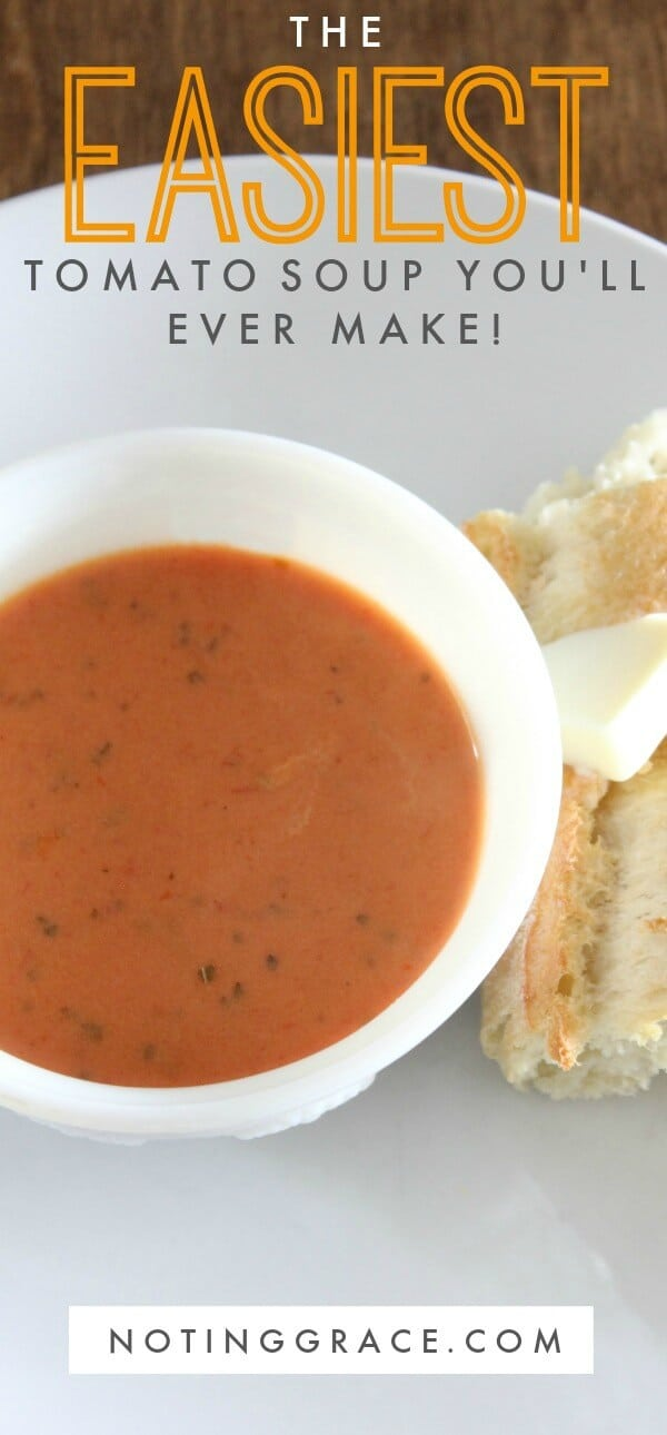 Looking for a quick dinner solution that you can make in a few minutes that your family will love? This recipe is the easiest tomato soup you'll ever make!
