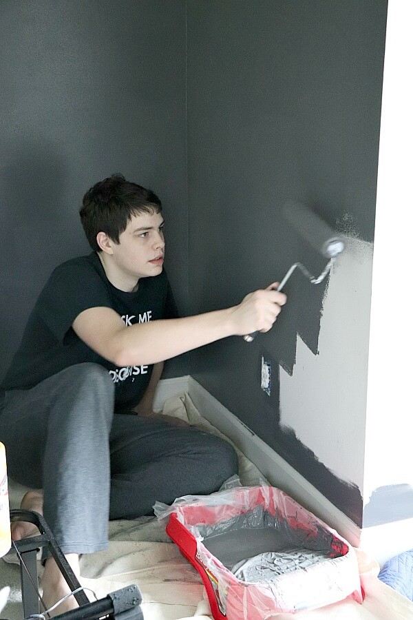We are making over our son's room for this Spring's One Room Challenge. This week while painting our son's room dark gray, we learned how we failed as parents in the process.