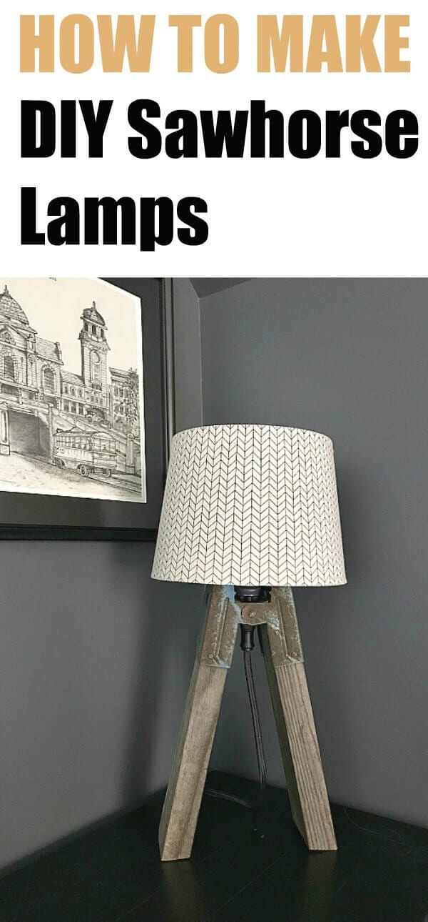 DIY Sawhorse Lamps - create this vintage industrial style lamp for your home with this super simple tutorial!