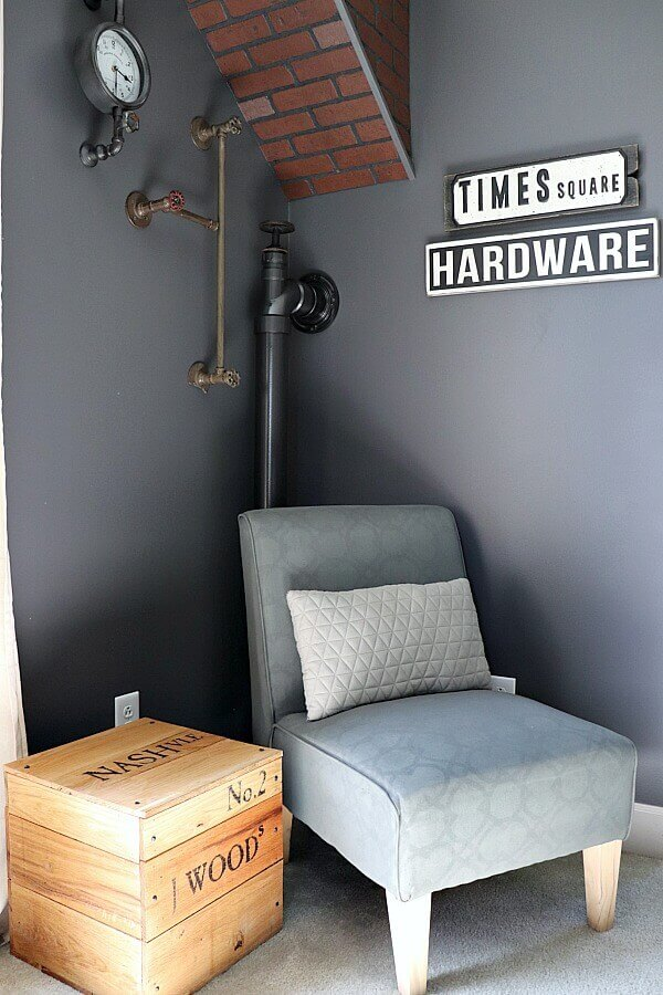 Adding faux industrial pipe for your teen room is a great way to add that masculine element. This would also work great for any diy industrial decor with this simple tutorial!