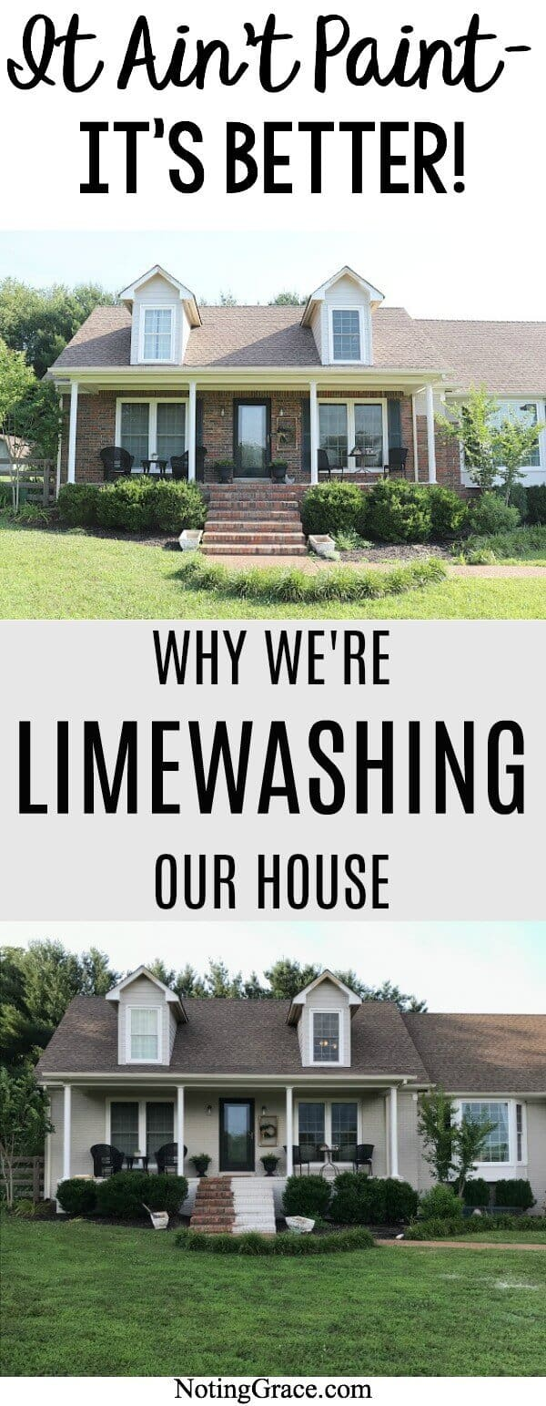 Do you hate the look of your exterior brick? We have found an easy solution and are sharing why we're limewashing our brick home  Romabio Paints Classico Limewash in Nube Gray