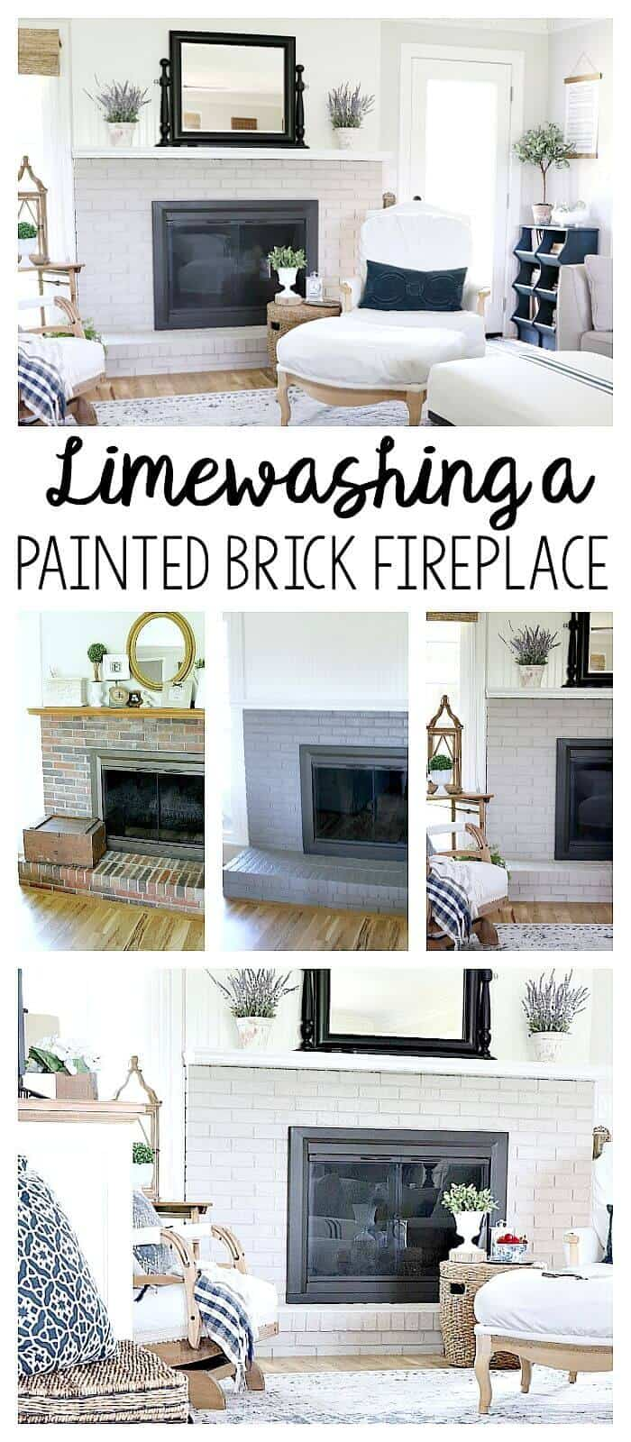 Limewashing a Painted Brick Fireplace - how we transformed our ugly and dated brick fireplace into a gorgeous focal point.