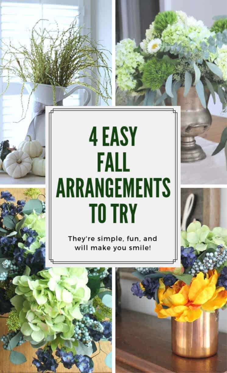 Do you struggle with floral arrangement like I do? Here are some 4 easy fall arrangements to try to bring the season inside.