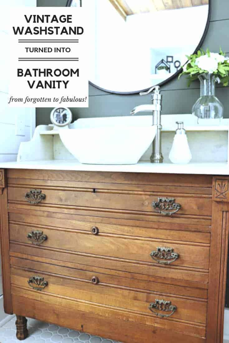 We found a forgotten item tucked away in someone's basement and turned it into something fabulous! Here's how we made our Vintage Washstand turned Bathroom Vanity for our master bathroom makeover.