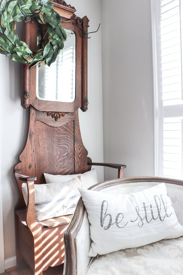 This Vintage hall tree is such a treasure of ours. And that sweet pillow is a daily reminder to take a moment to rest.