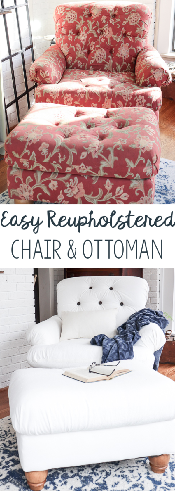 When I found a chair for $35 on a buy/sell/trade site, I knew I could flip the chair into something perfect for my home. Here's an easy DIY reupholstered chair and ottoman that took just a few days to complete.