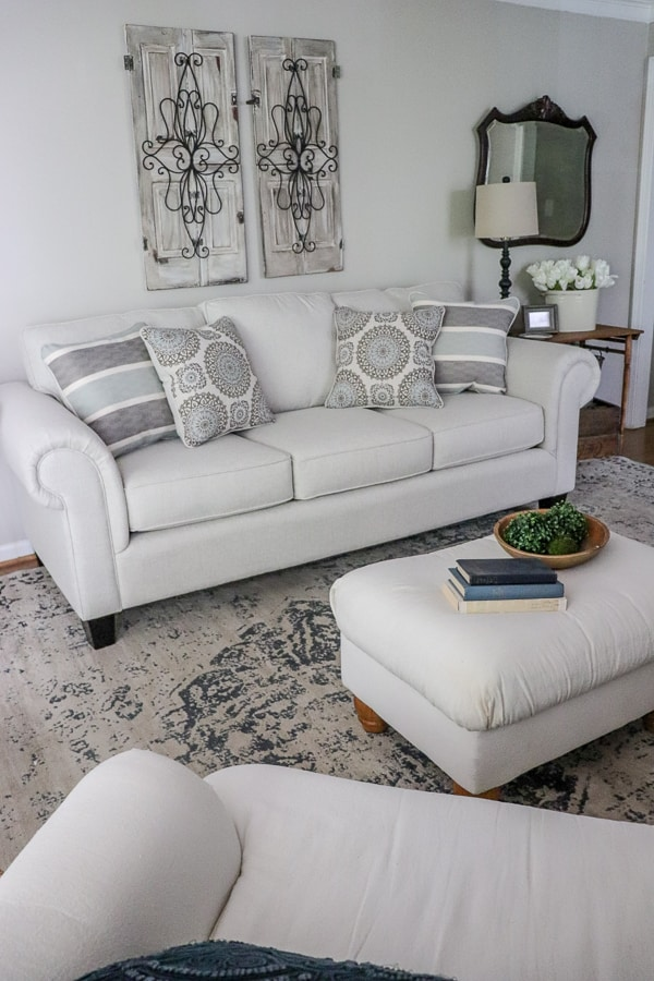 We didn't paint, hang pictures or swap rugs. We simply replaced our sofa. It's amazing how one piece of furniture created a space I love. #sponsored #ad #myroomstogohome