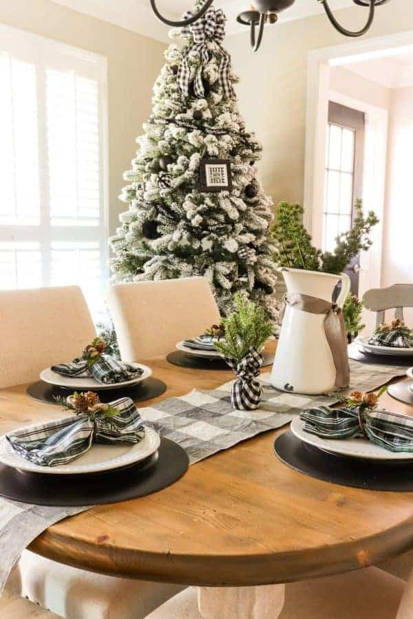 Casual Black White and Green Christmas Tablescape table and tree