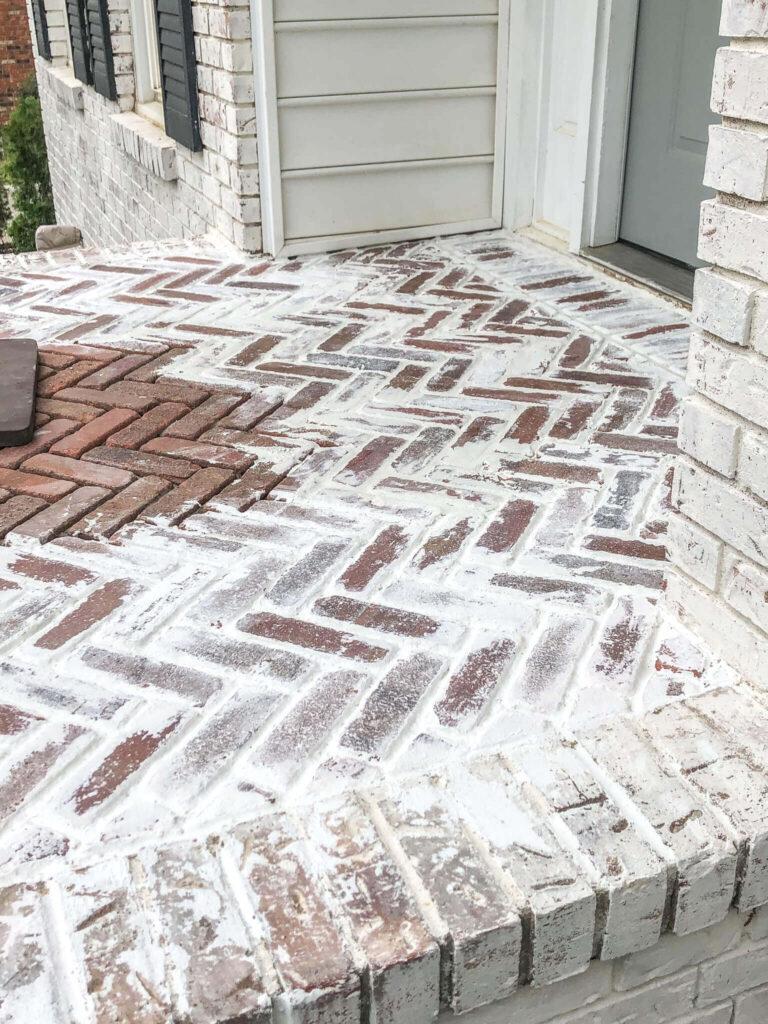 mortar wash brick patio progress