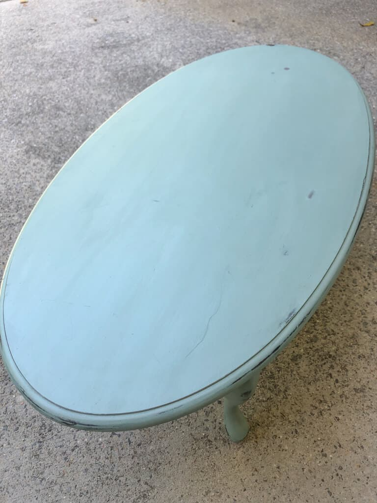 Robins egg blue coffee table from Facebook Marketplace