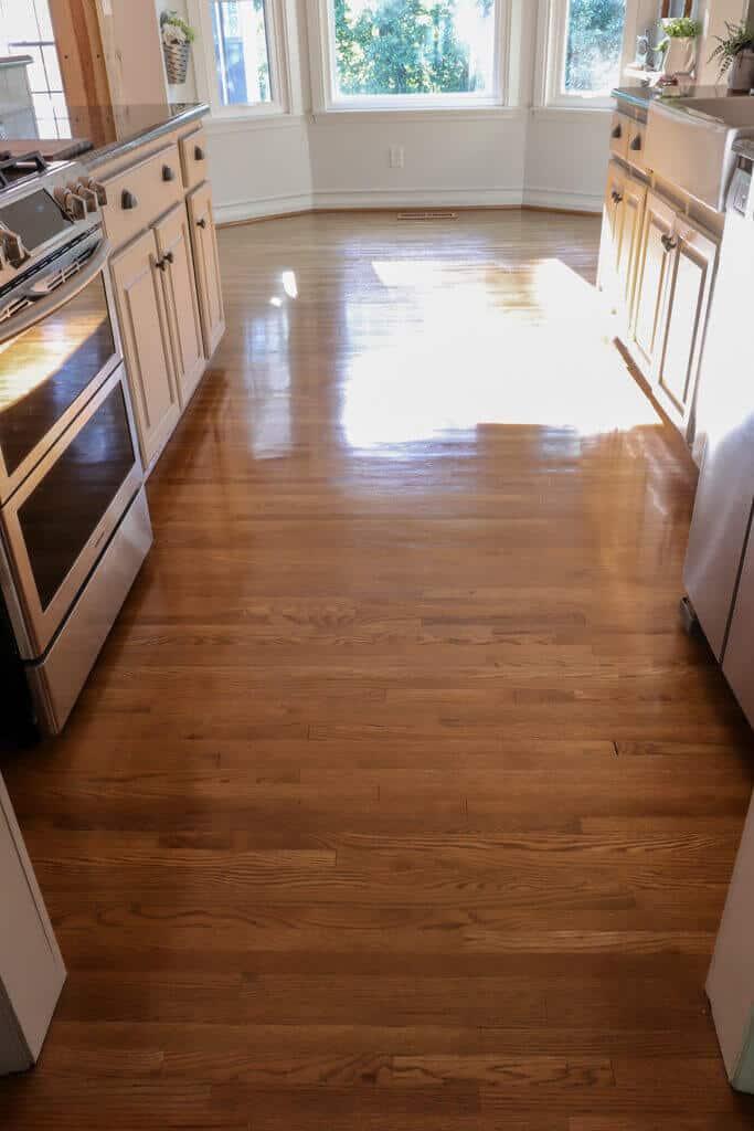 after using rejuvenate hardwood floor restore in satin