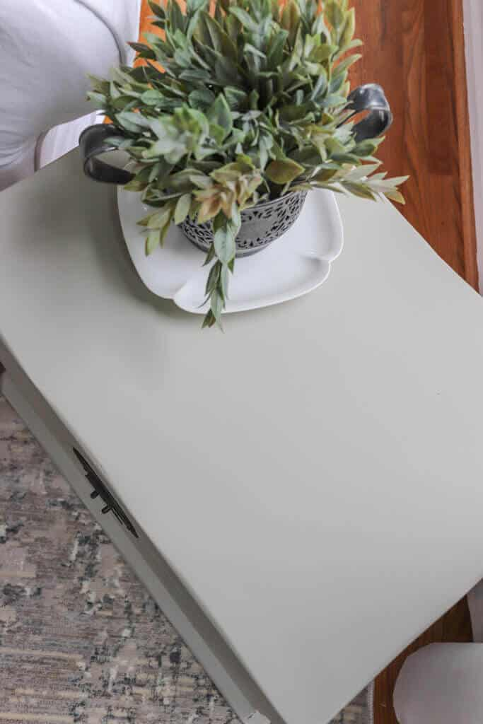 top of painted trunk side table