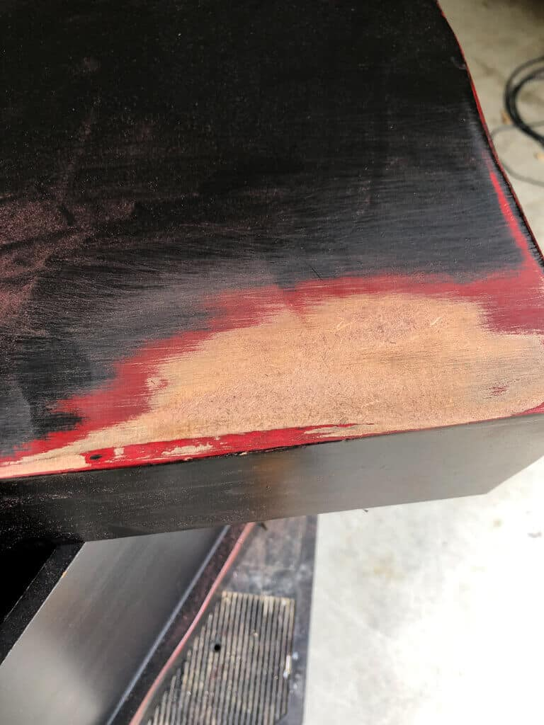 sanding down to reveal mdf