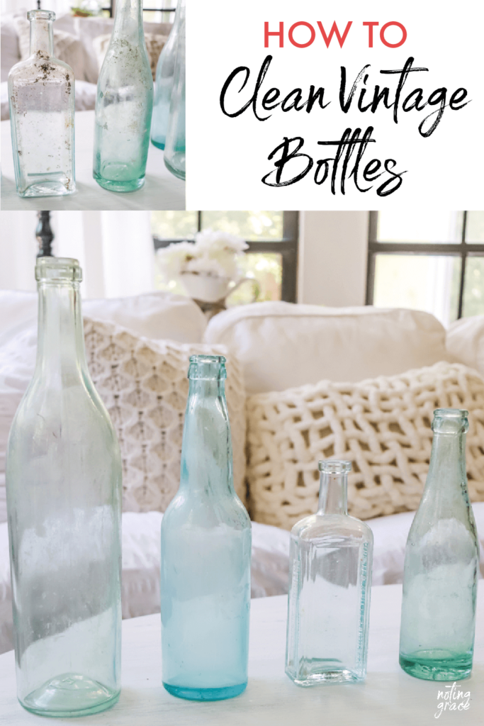 I love finding old bottles at the thrift stores, but they aren't always in the best shape. Here's how to clean vintage bottles easily!