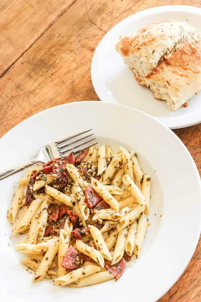 I often find myself scrambling for quick and easy dinner ideas. This Easy Pepperoni Pesto Penne Pasta is one my whole family loves!