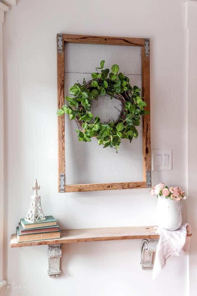 garland wrapped around twig wreath form