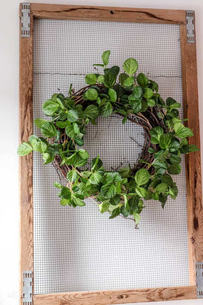 tulip crate with twig wreath