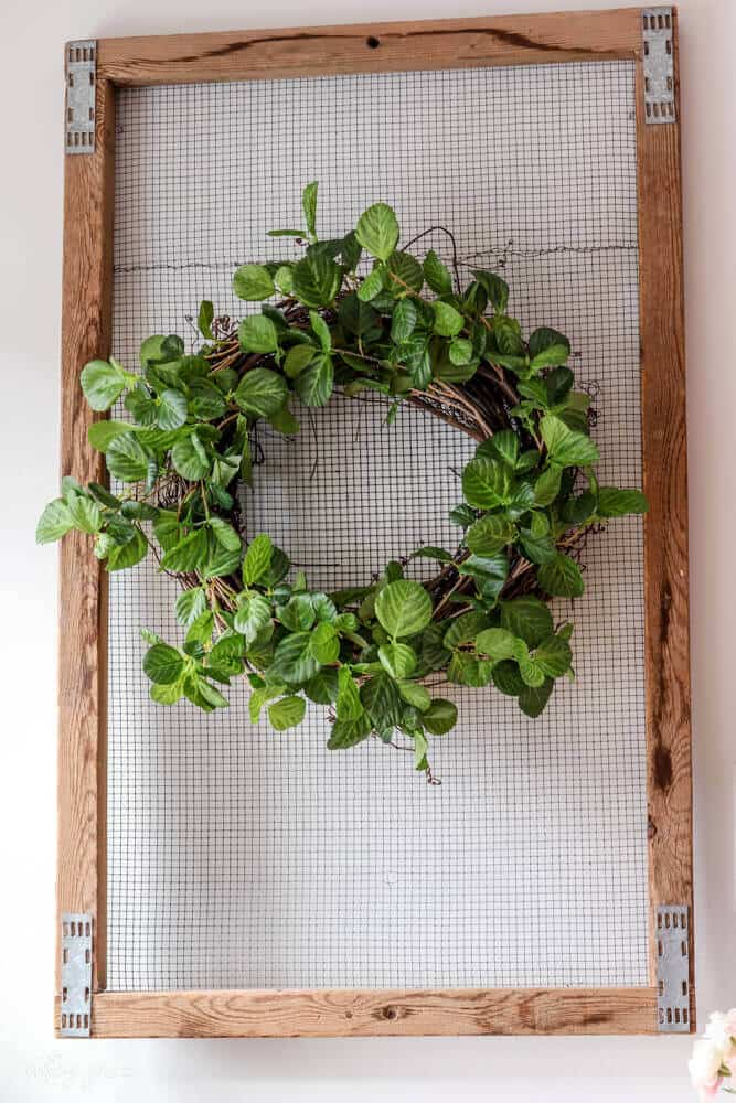 DIY wreath made from grapevine wreath and garland