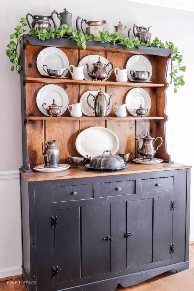 vintage hutch decorated for spring