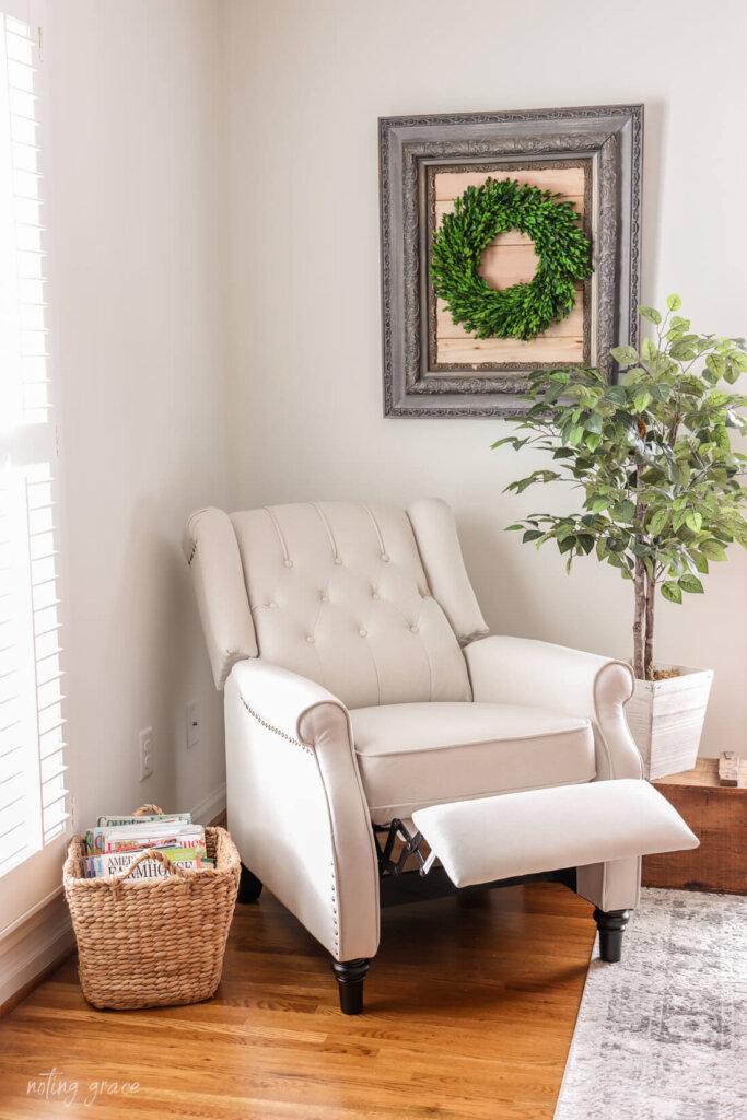 push back recliner in recline position in bedroom