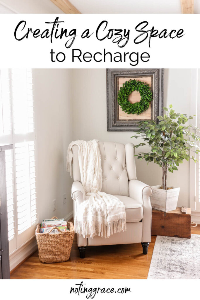 pin creating a cozy space to recharge