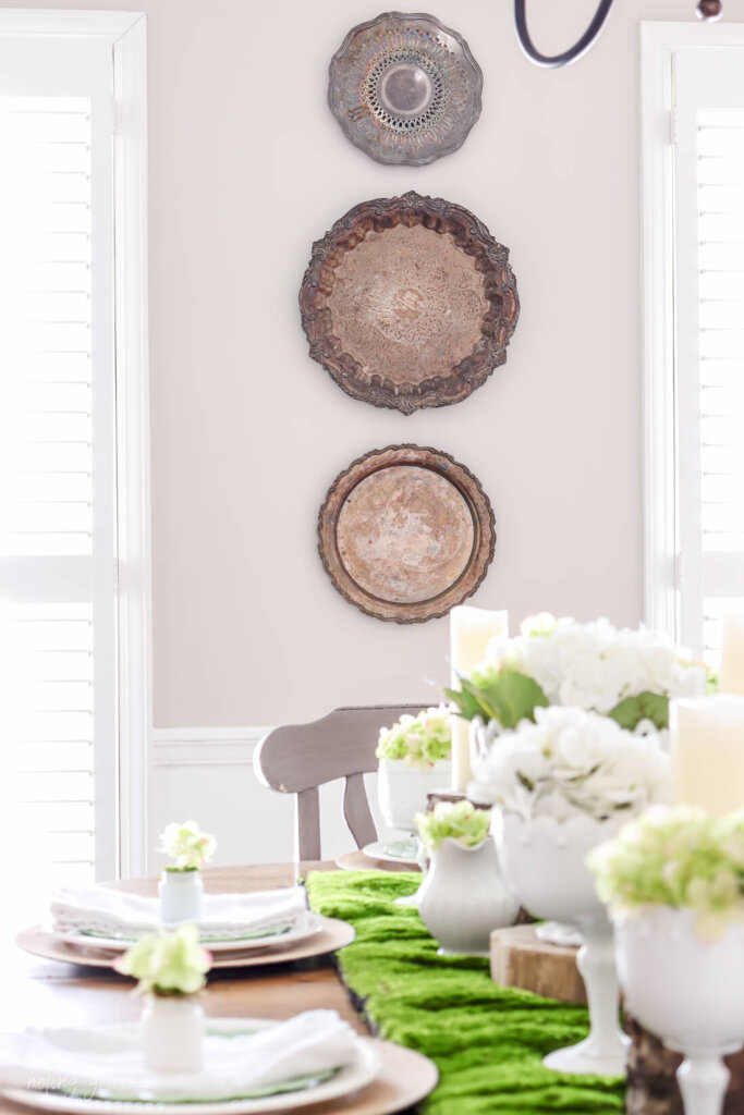tarnished silver wall hangings  Decorate Your Spring Table with Milk Glass and Hydrangeas