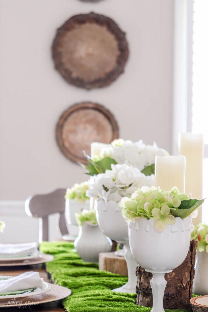 milkglass and hydrangea table setting
