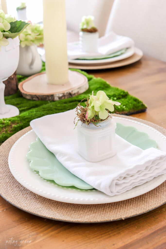Decorate Your Spring Table with Milk Glass and Hydrangeas  milkglass and hydrangea table setting