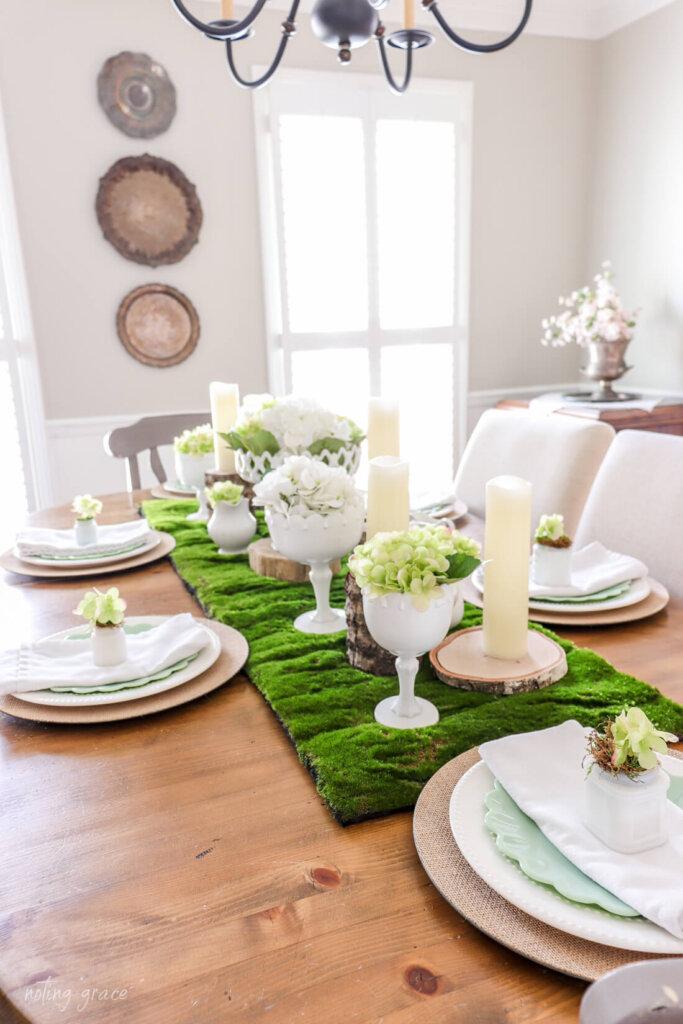milkglass and hydrangea table setting  Decorate Your Spring Table with Milk Glass and Hydrangeas