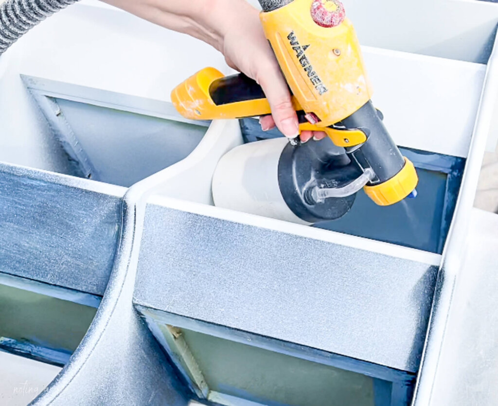 using wagner sprayer to paint cabinet