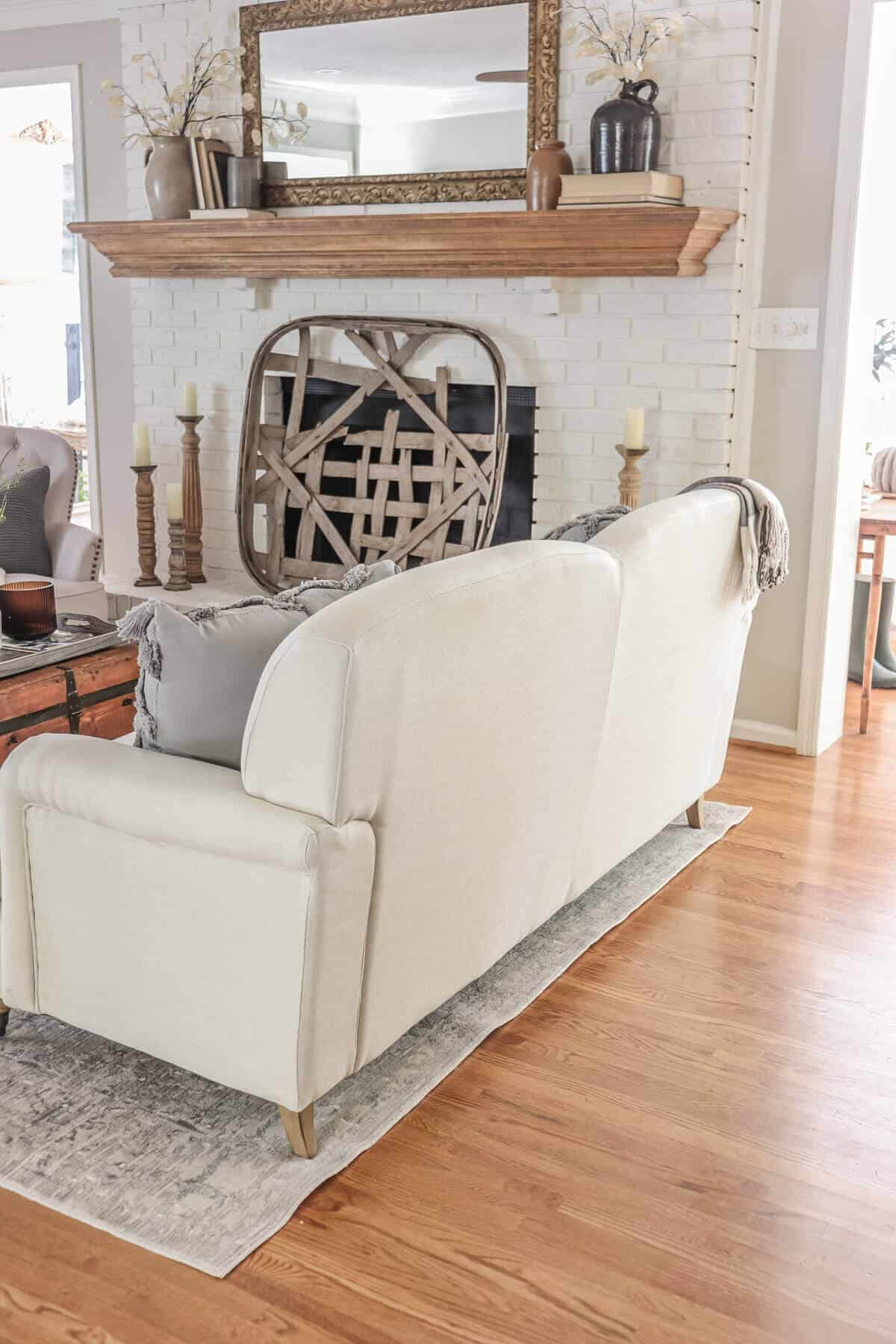back of couch with curved back