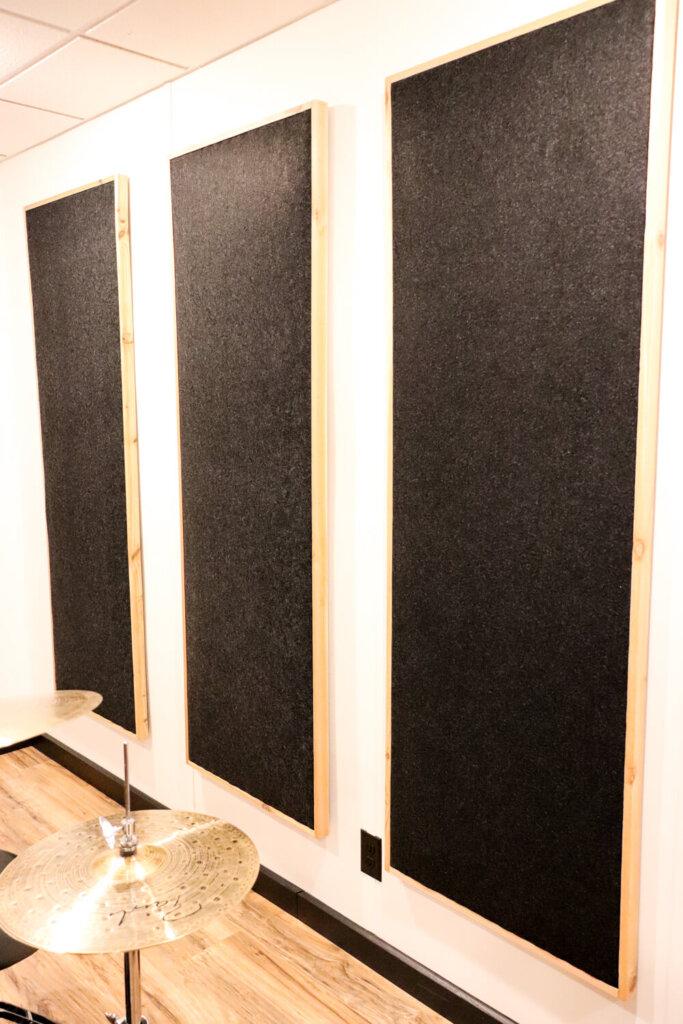 Sound panels made of cedar and felt