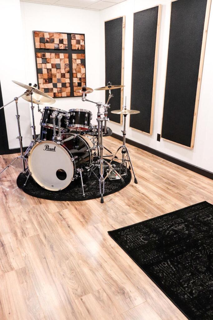 drum practice room with sound panels