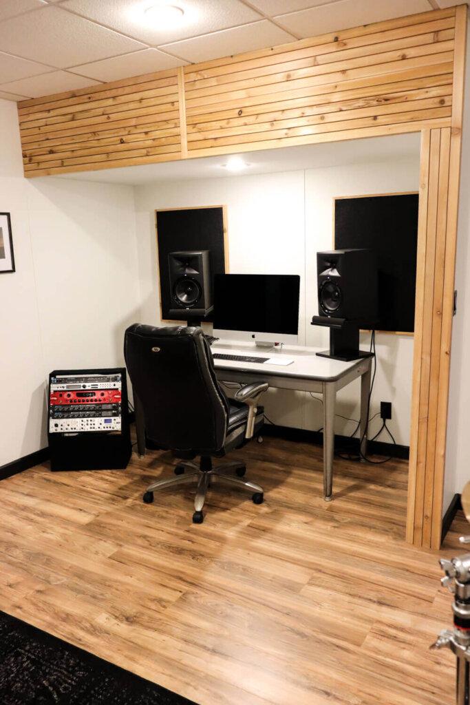 cedar accent wall over music desk area
