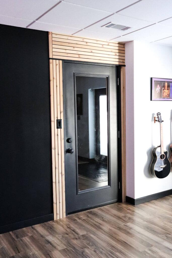 cedar strips around a door