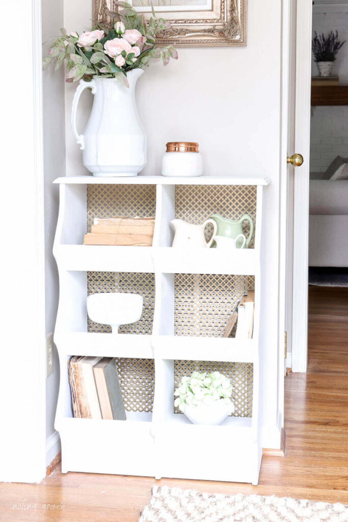 cabinet with brass mesh wire backing