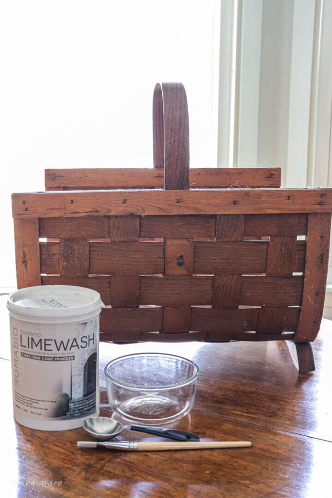 How to Lime Wash a Basket - the before and supplies needed.