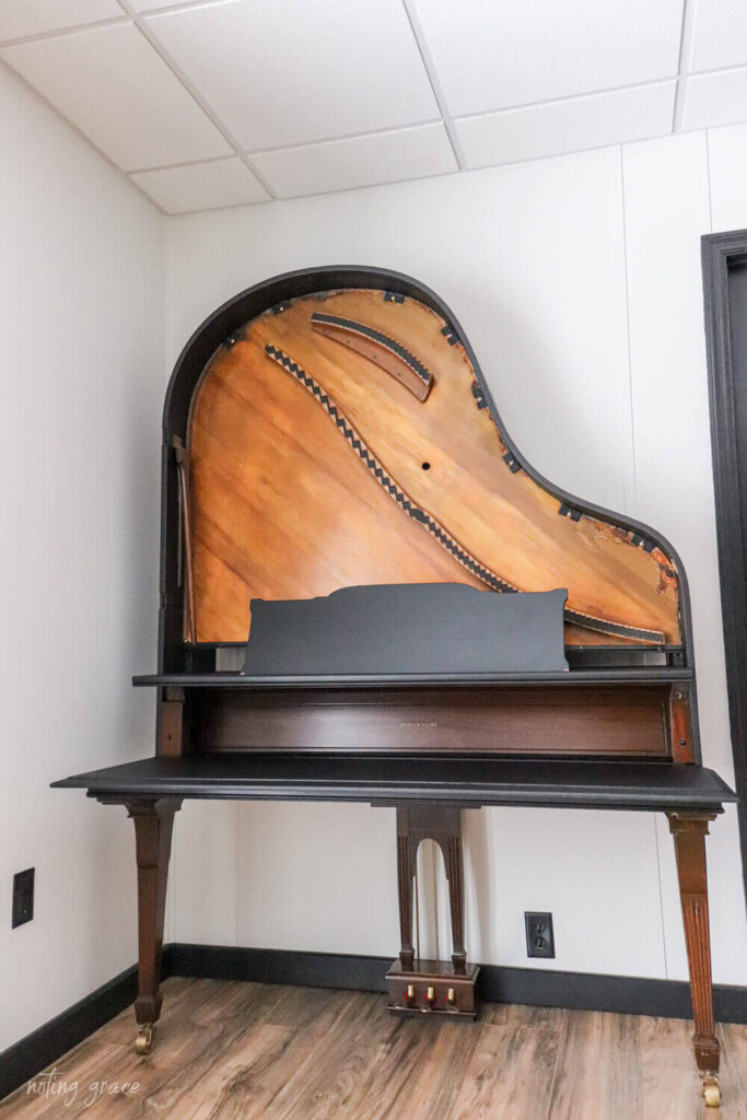 vintage piano turned into a desk