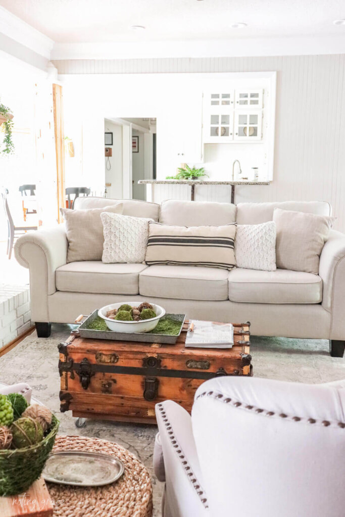 Couch styled for summer