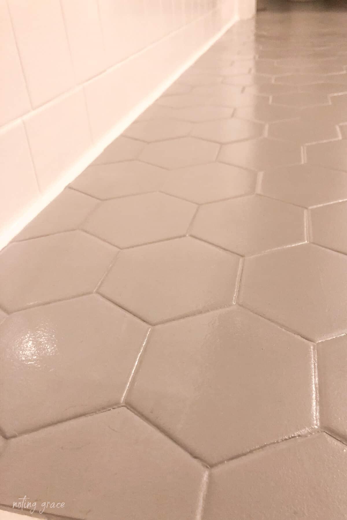 bathroom floor drying base coat of floor paint