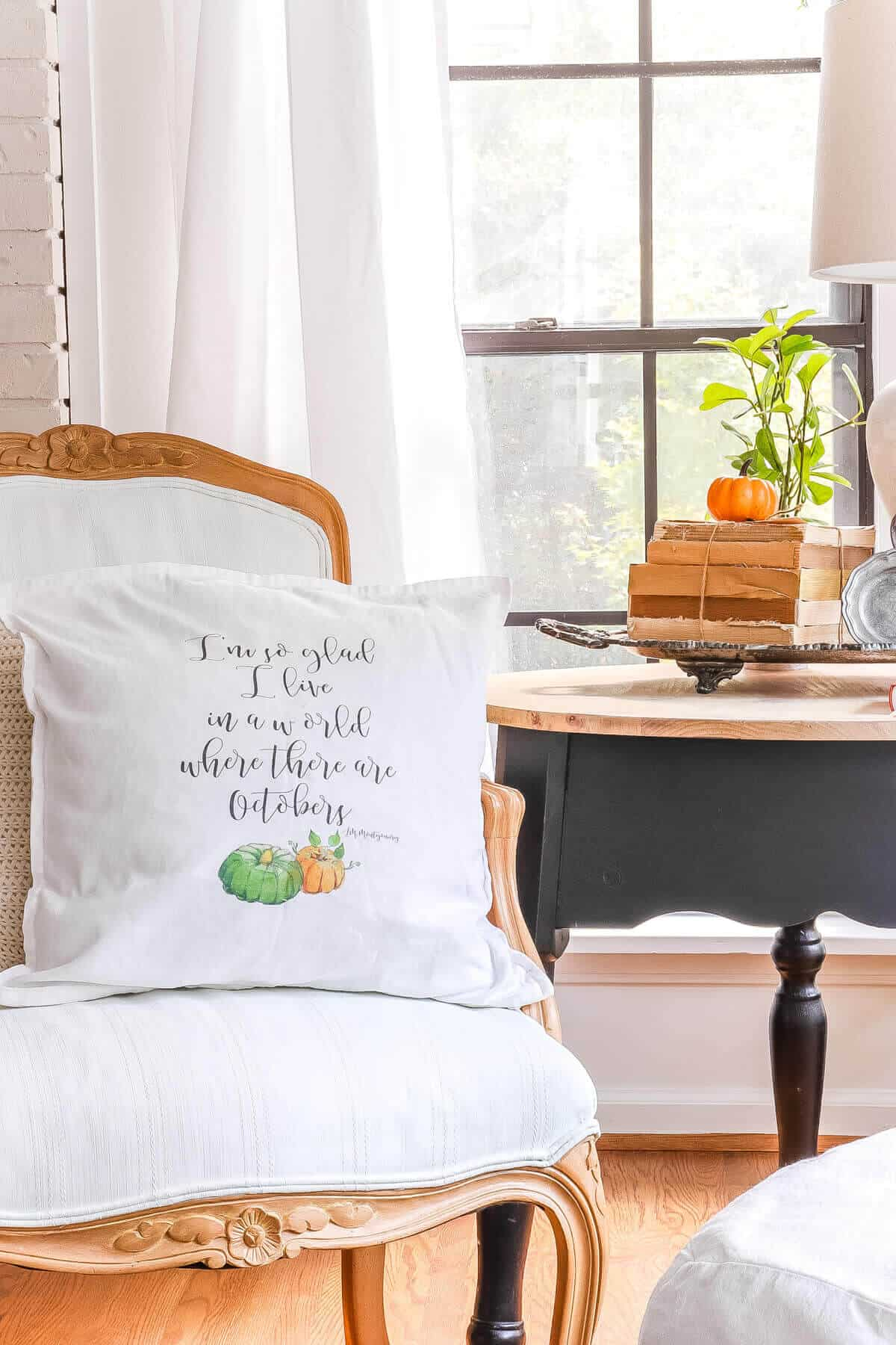 fall pillow sitting on a chair