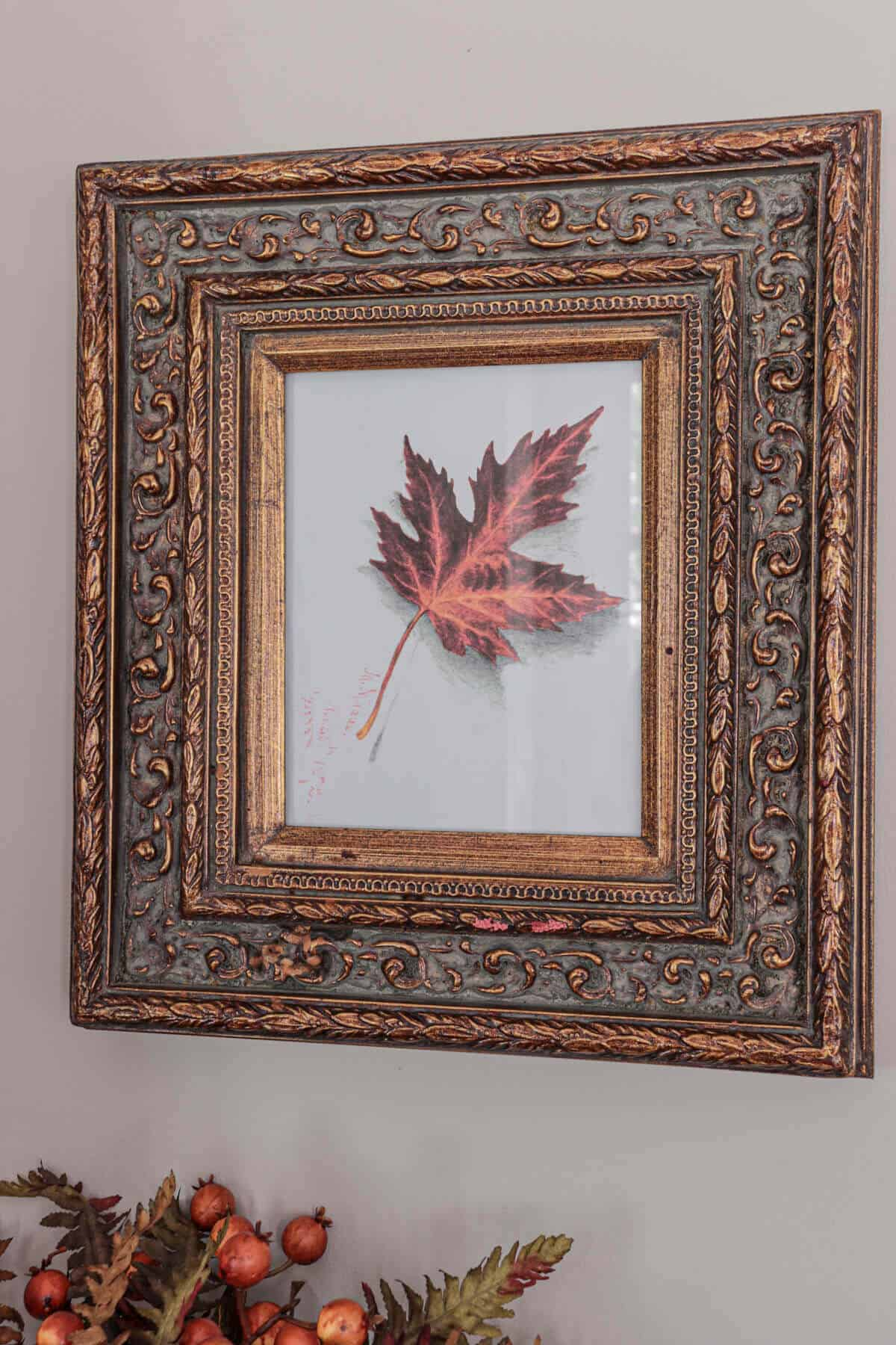brass frame with leaf picture hanging in an entryway