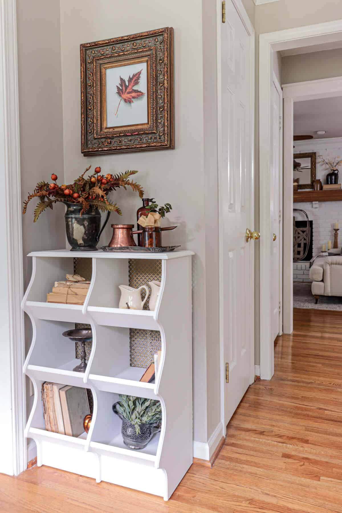 chicken coop cabinet styled for fall