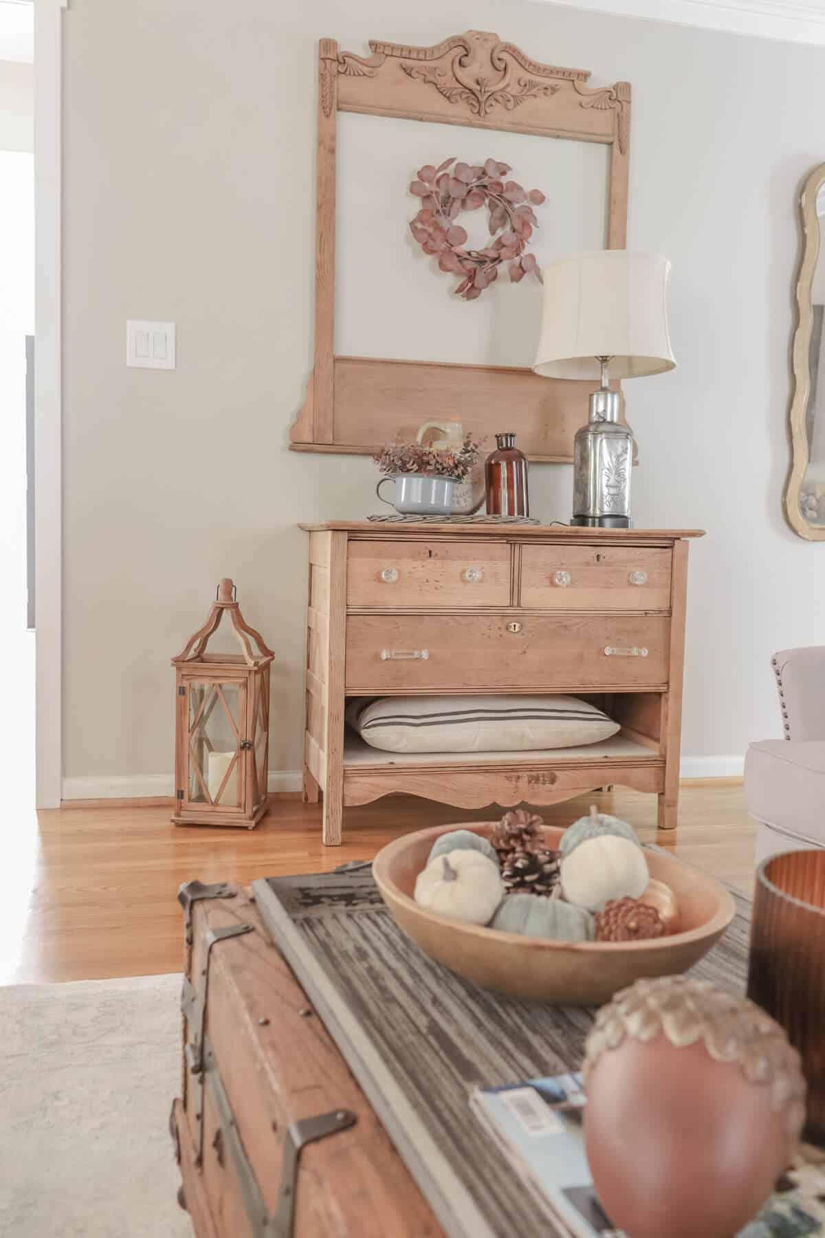Vintage dresser decorated for fall