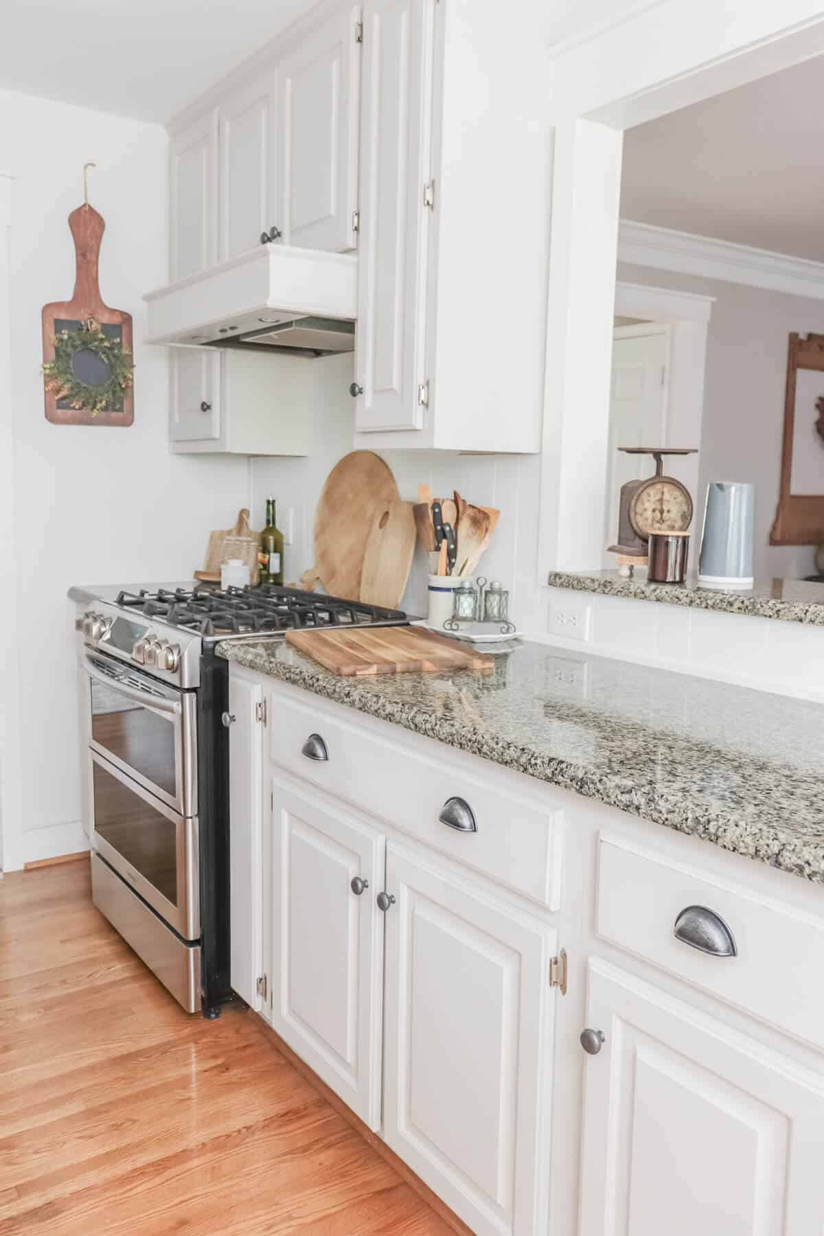 galley kitchen decorated for fall