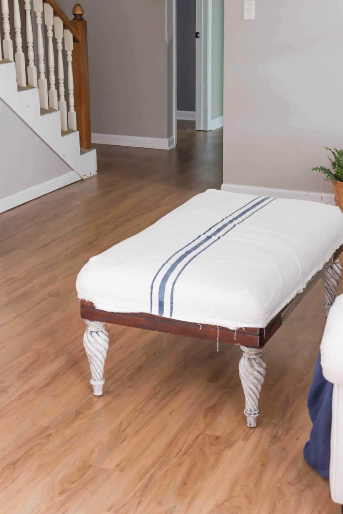 diy grain stripe fabric covered ottoman