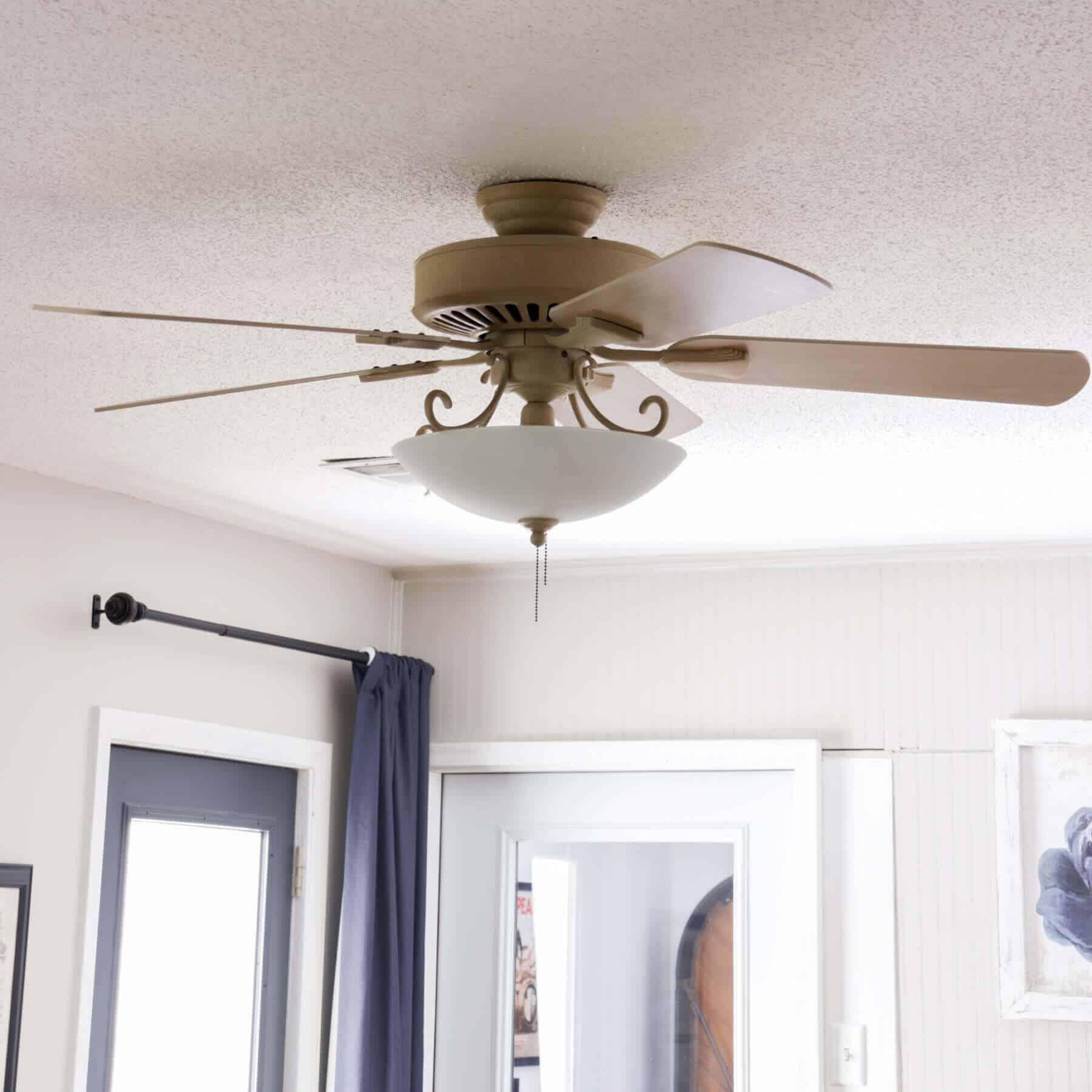 beige ceiling fan