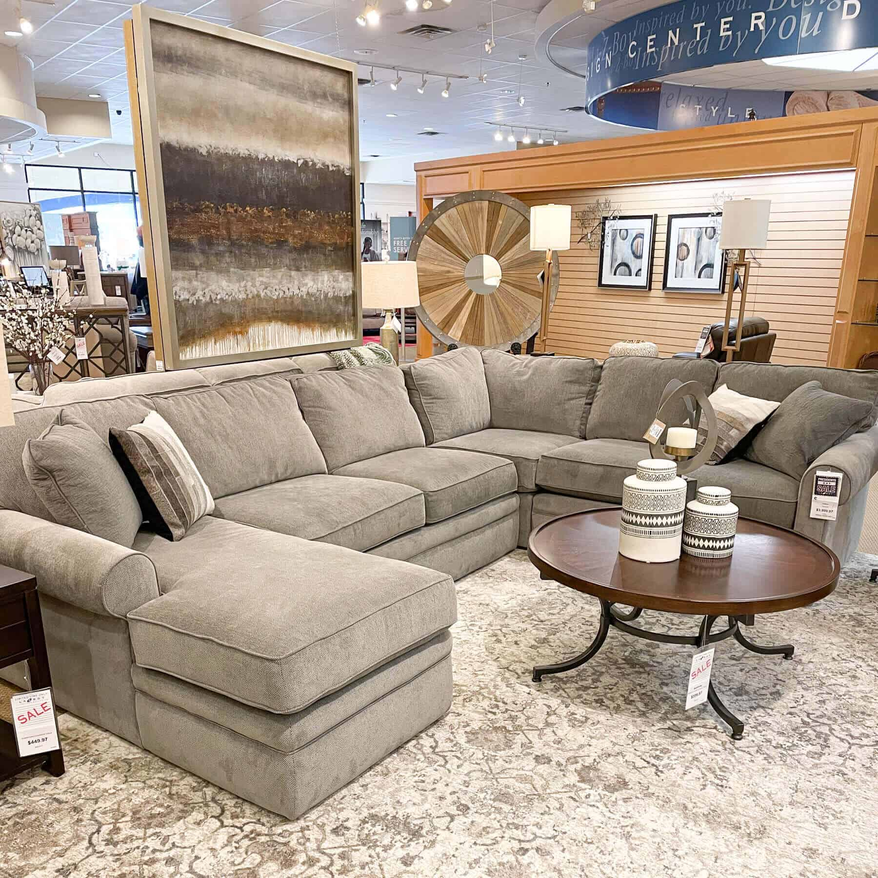 lazboy collins sectional sofa with gray fabric