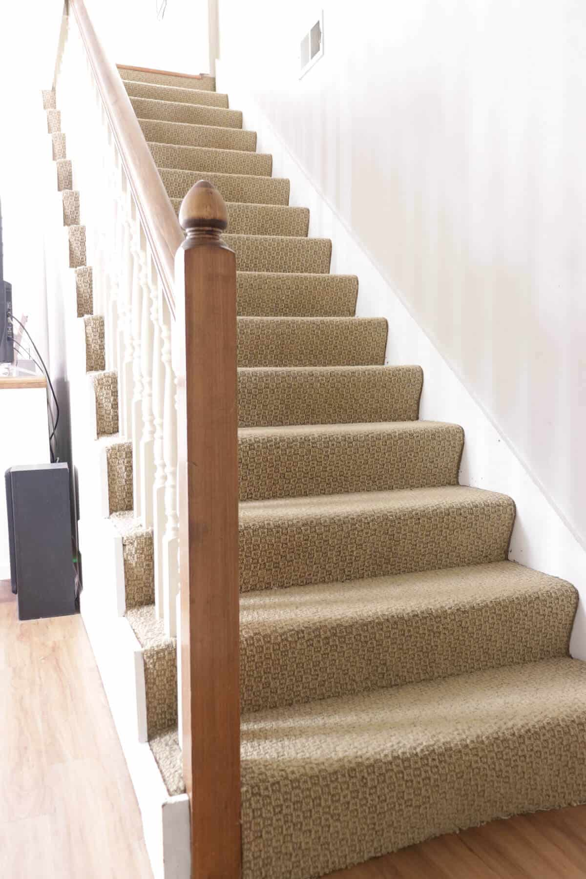 dated stairway with ugly tan carpet