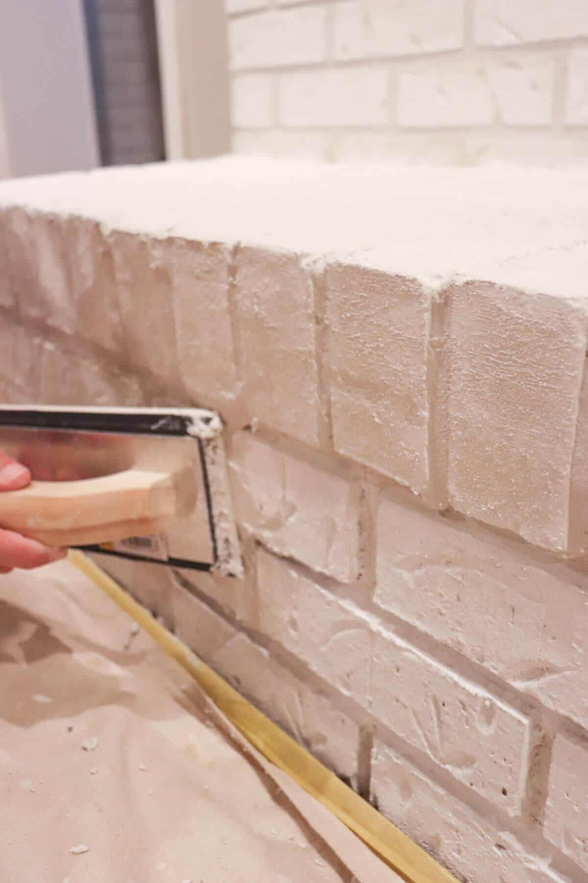 filling grout lines in brick with mortar